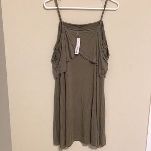 Olive green LAMade dress. Above the knee